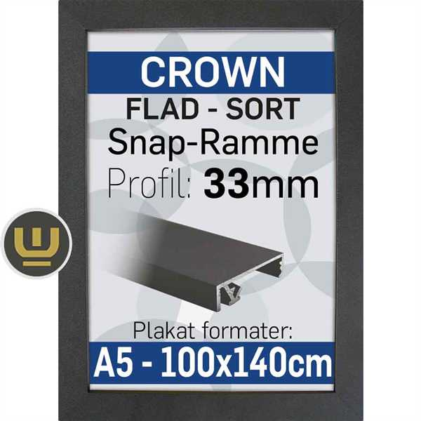 CROWN klap ramme sort, 33 mm profil - B1 - 70 x 100 cm