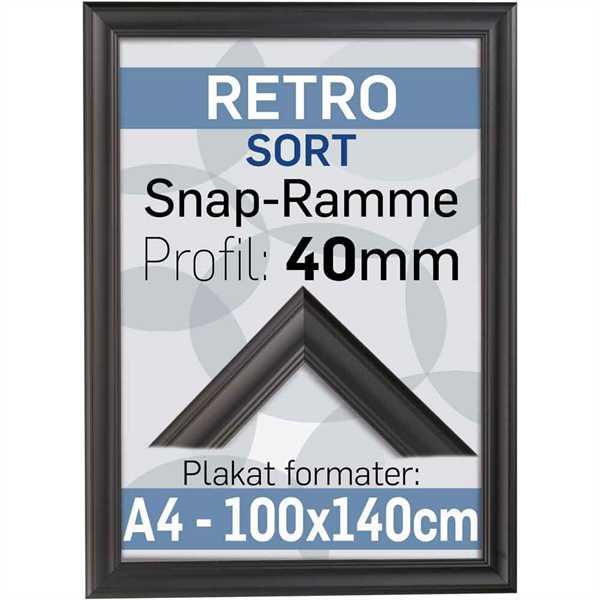 Retro plakatramme - Sort - 50 x 70 cm