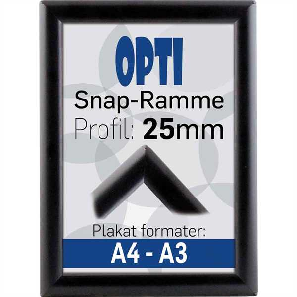 Image of   Alu klapramme 25 mm profil Opti Frame sort A4